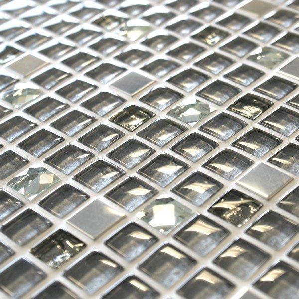 Jewel Amarillo mixed grey glass and metal mosaic tiles