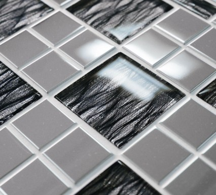 Infinity Jupiter mixed glass and metal mosaic tiles
