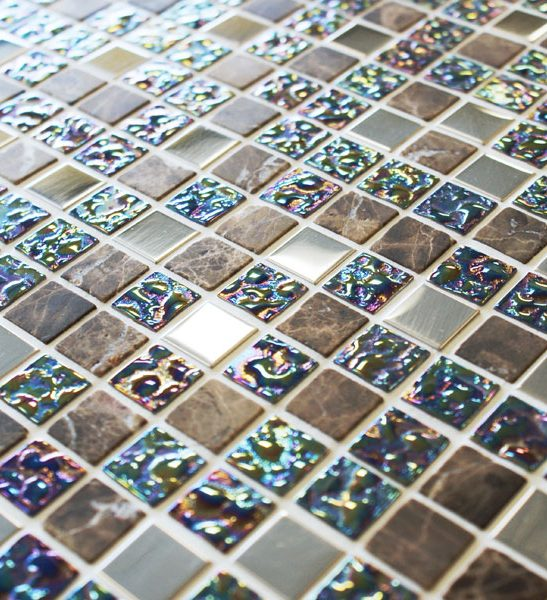 Lustre iridescent brown mosaic tiles
