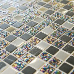 Lustre iridescent grey mosaic tiles