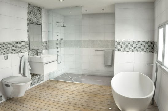 White glass and stone mosaic with diamond cut pieces