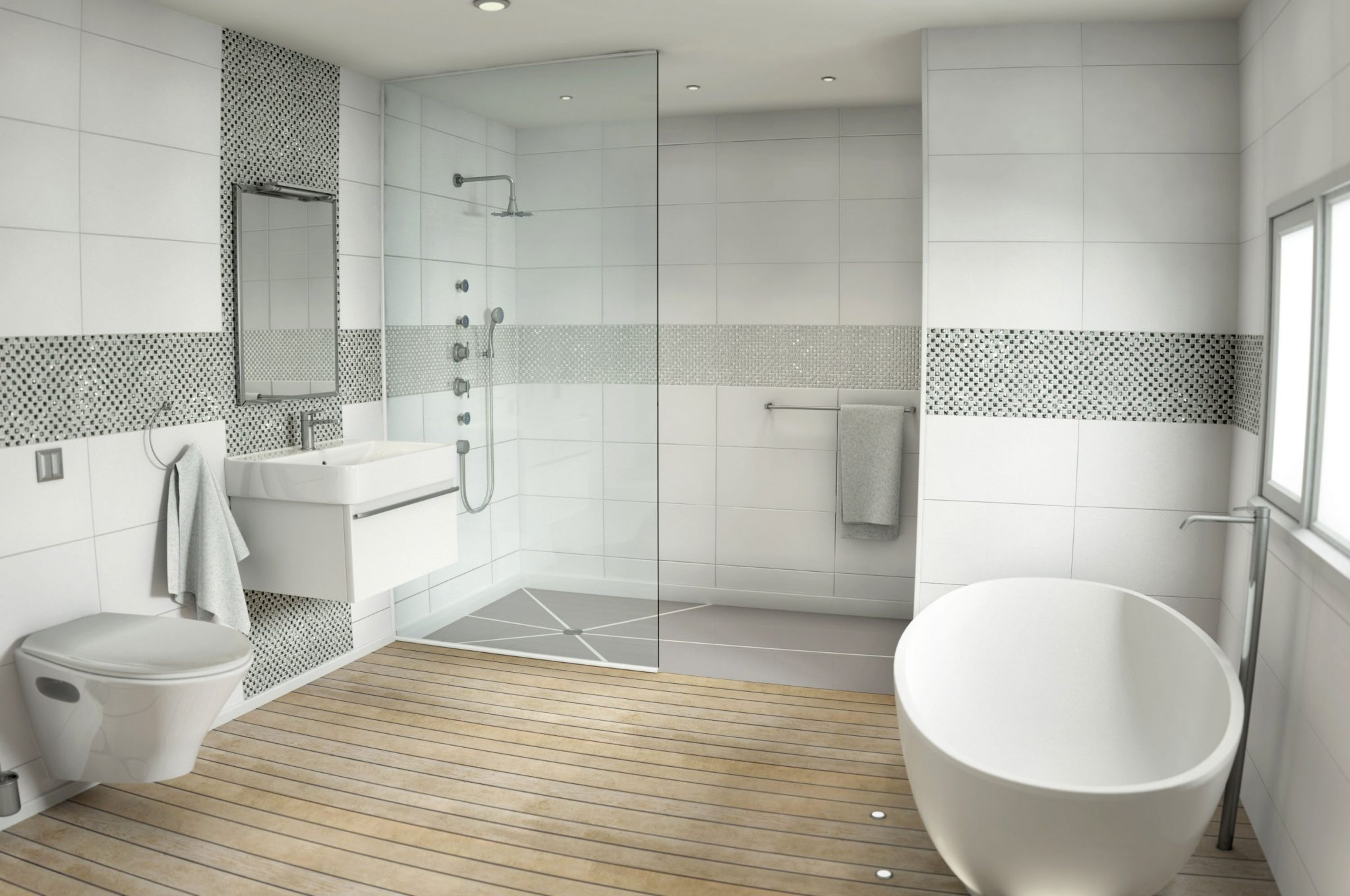 24 Mosaic Bathroom Ideas Designs: White Sparkle Mosaic Tiles