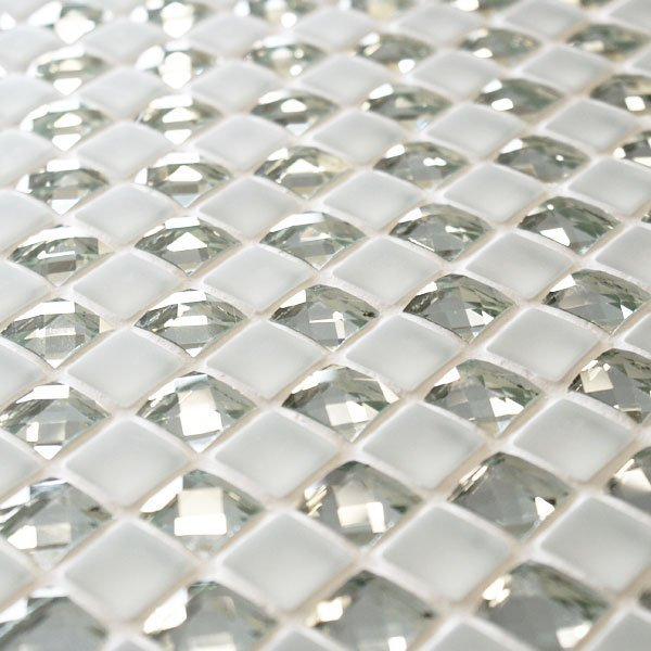 Manhattan 1 5 X 1 5cm White Sparkle Mosaic Tiles