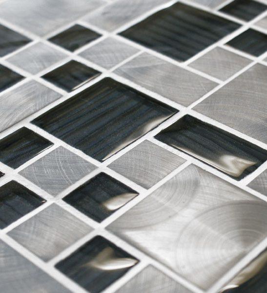 Metal work mercury metal and glass mosaic tiles