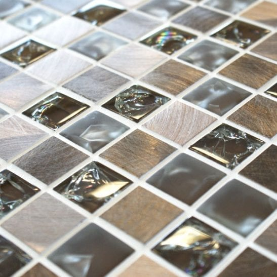 Sparkle Metal Brown Mosaic Tiles