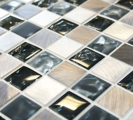 Sparkle Metal Grey Mosaic Tiles