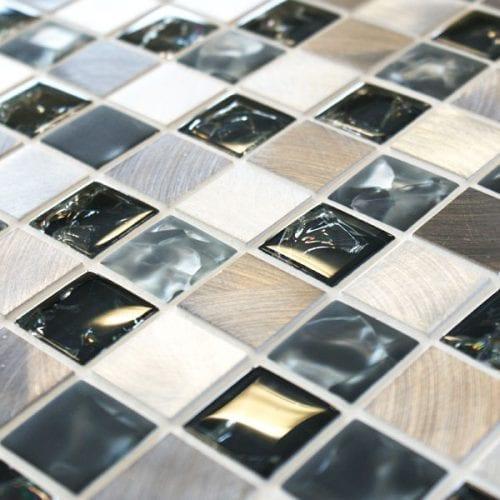 Sparkle Metal Grey Mosaic Tiles