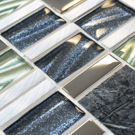 Infinity Neptune mixed metal and glass mosaic tiles