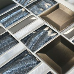 Infinity Saturn mixed metal and glass mosaic tiles