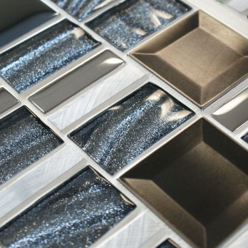 Infinity Saturn mixed metal and glass mosaic tiles