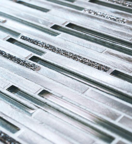 Metal works silver sparkle mosaic tiles