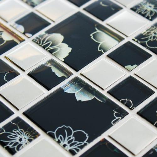 Black modular mosaic tile with an iridescent finish