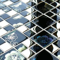 Black modular mosaic tile with an iridescent finish