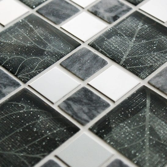 Sentinal mixed metal,glass and stone mosaic