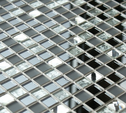 Glass mosaic tiles with mirror and diamond cut glass