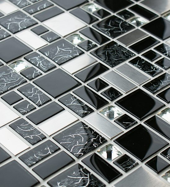 Trinity mixed glass and metal modular mosaic tile