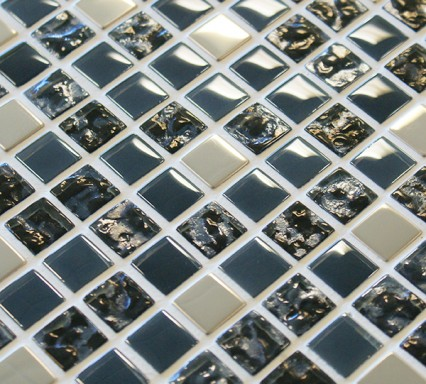 Glass and metal mosaic tiles with an iridescent finish
