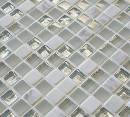 white and silver glass and stone mosaic tiles