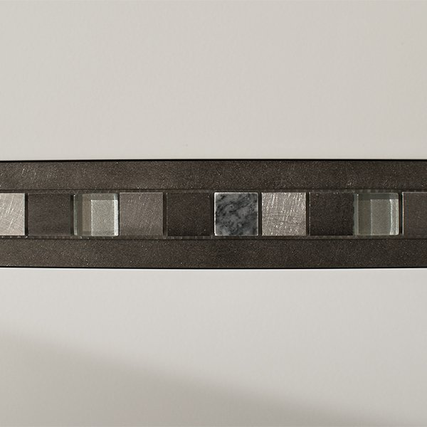 Metal, glass and stone mosaic linear border tiles