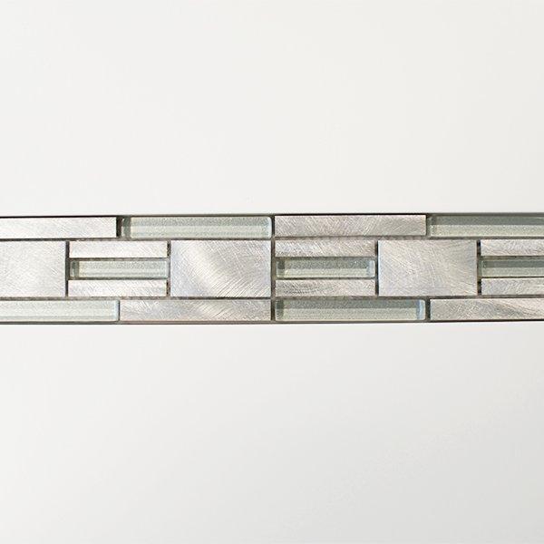 Silver metal, glass modular mosaic linear border tiles
