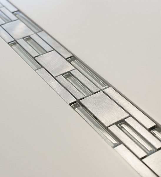 Silver metal, glass modular mosaic linear border tiles