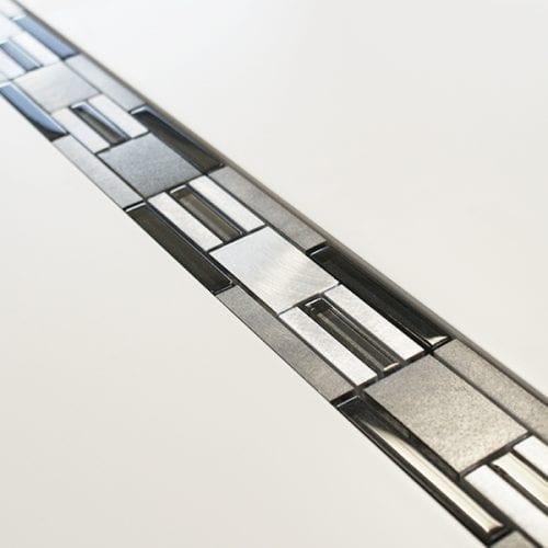 Dark grey metal, glass modular mosaic linear border tiles