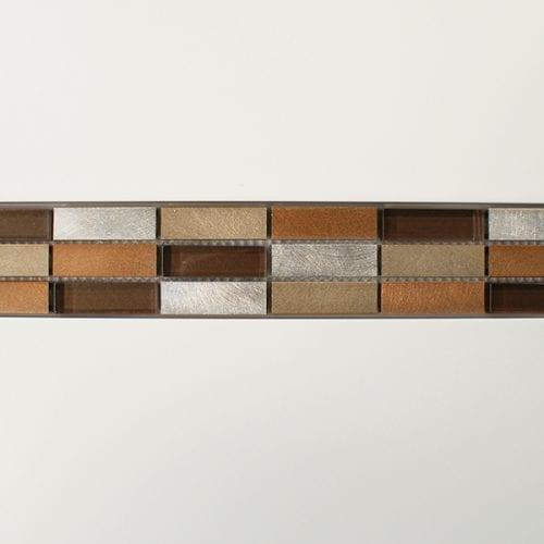Bronze metal and glass mosaic border tiles