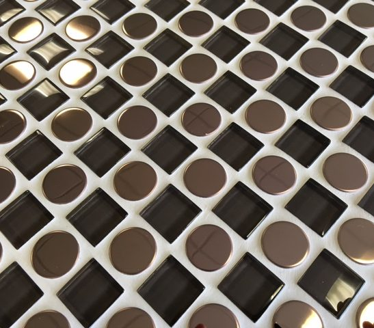 Checkers brown circle and square mosaic tile