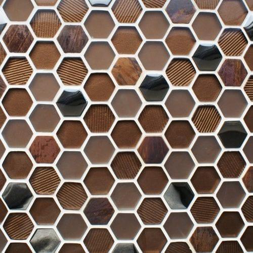 Honeycomb copper mosaic tiles