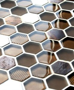 Honeycomb copper mosaic tiles