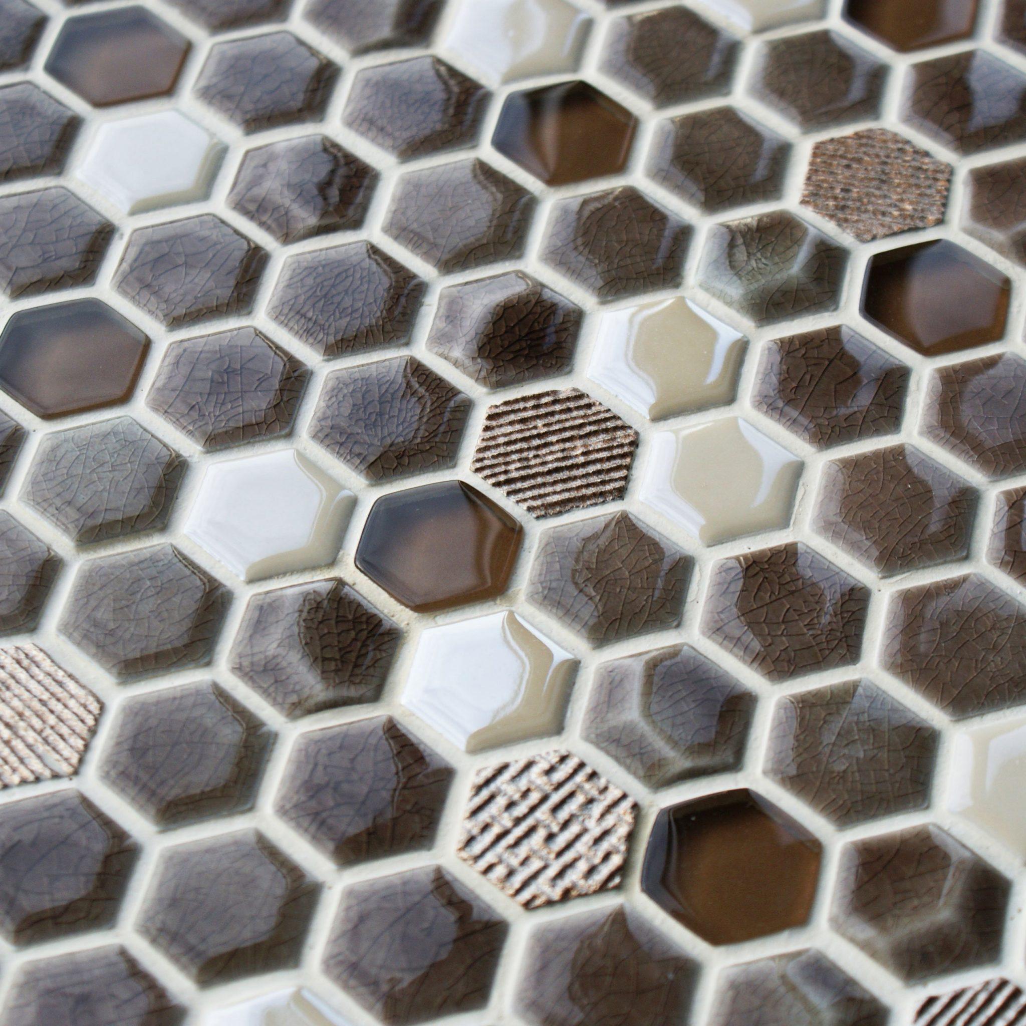 Honeycomb fawn mosaic tiles
