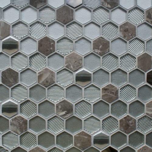 Honeycomb silver mosaic tiles