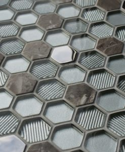 Honeycomb silver mosaic tiles