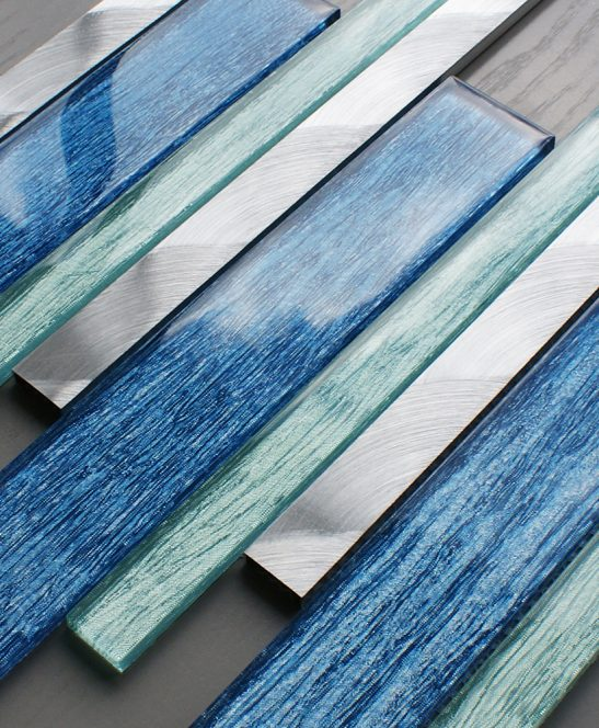 Portland blue glass linear and metal wall tiles