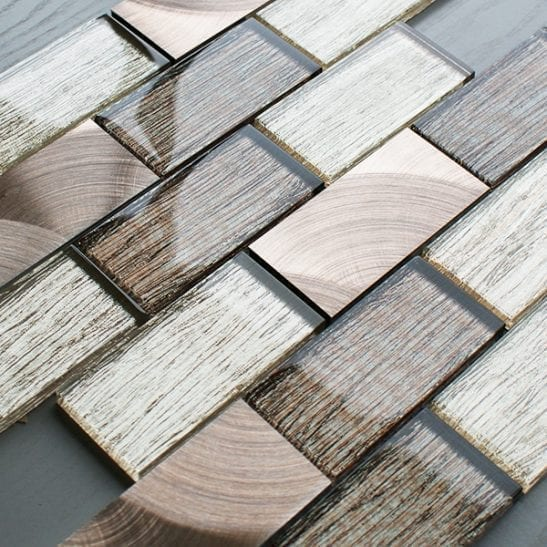 Portland brown glass brick and metal wall tiles