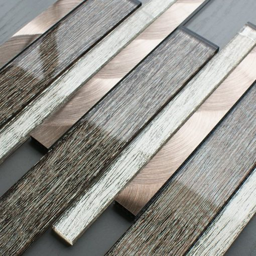Portland brown glass linear and metal wall tiles
