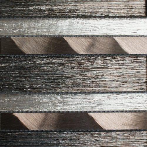 Portland brown glass brick and metal wall tiles