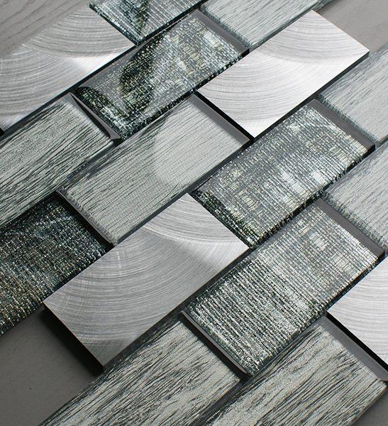 Portland green glass brick and metal wall tiles