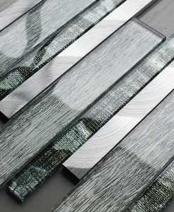 Portland green glass linear and metal wall tiles