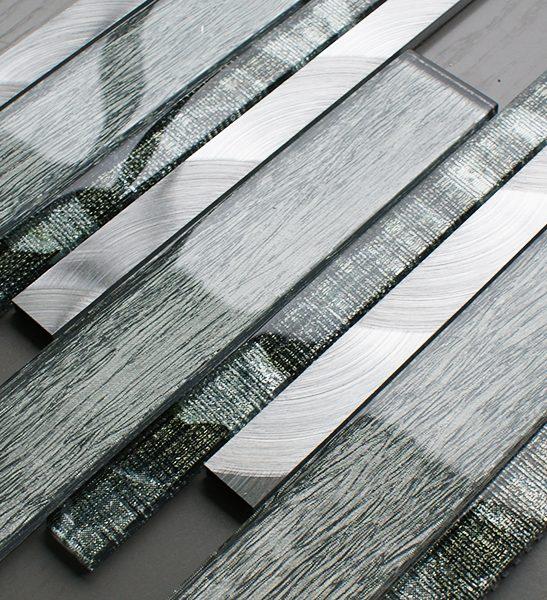 Portland green glass linear and metal wall tiles