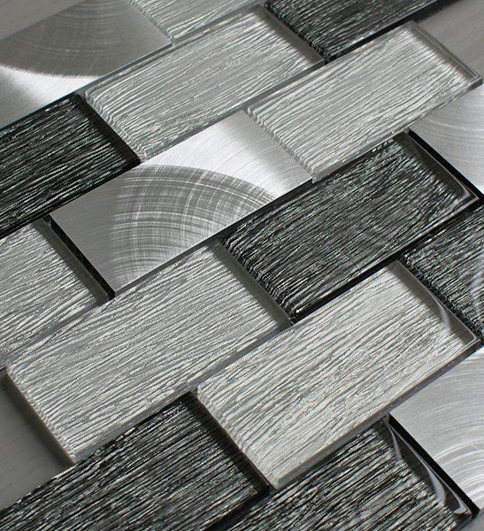 Portland grey glass brick and metal wall tiles