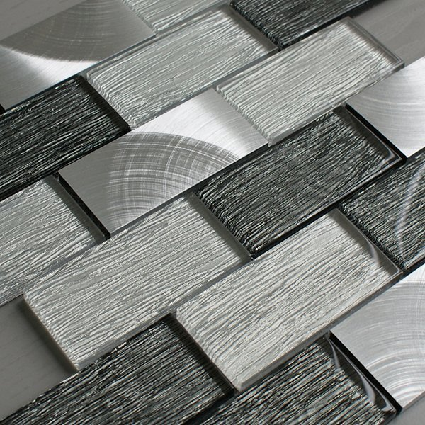 Portland grey glass brick tile mosaic village for Large glass wall tiles