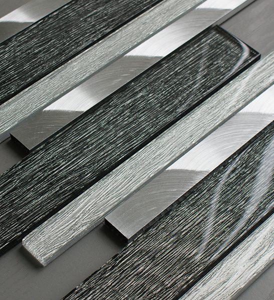 Portland grey glass linear and metal wall tiles