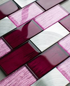 Portland pink glass brick and metal wall tiles