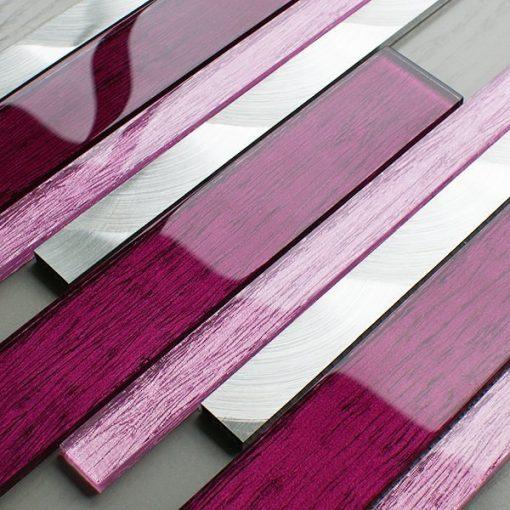 Portland pink glass linear and metal wall tiles