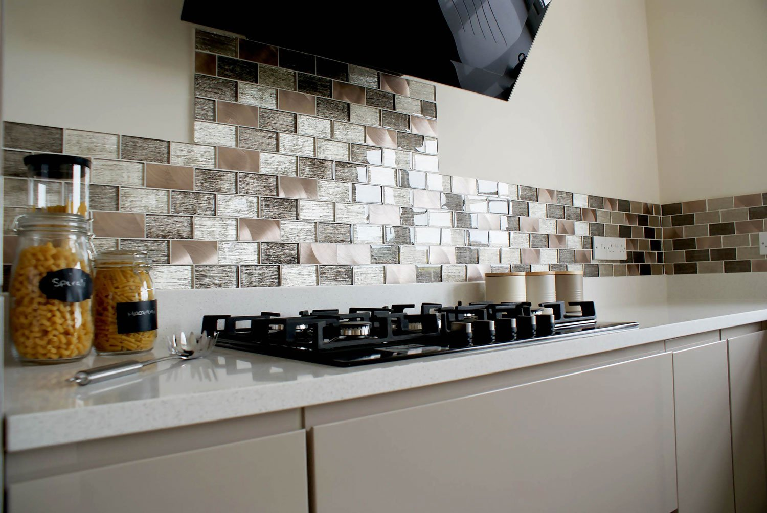 Portland brown glass brick kitchen tiles