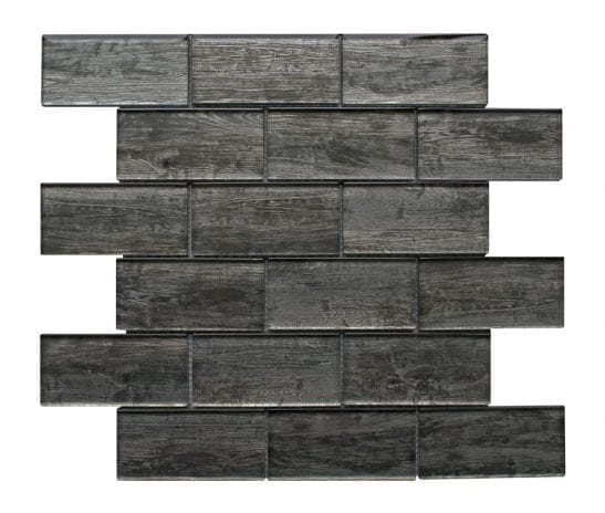 Rustica Grey wood effect glass tiles