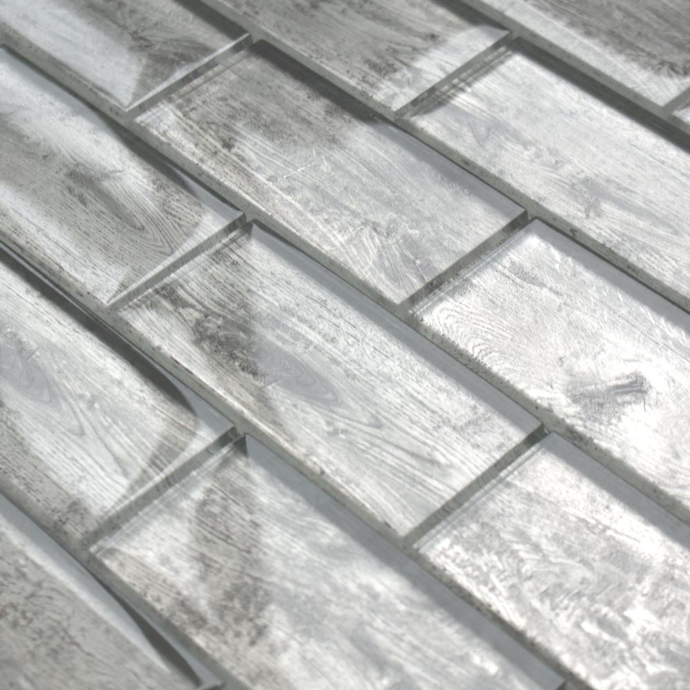 Rustica White wood effect glass tiles