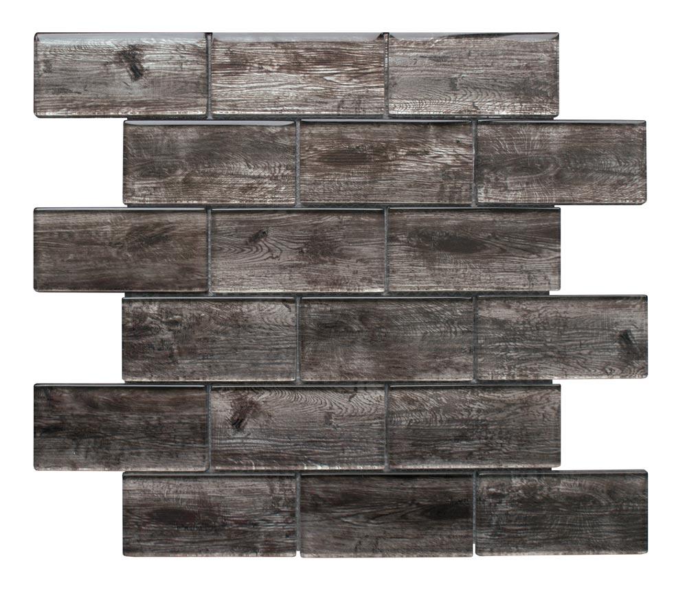 Rustica Dark Brown wood effect glass tiles