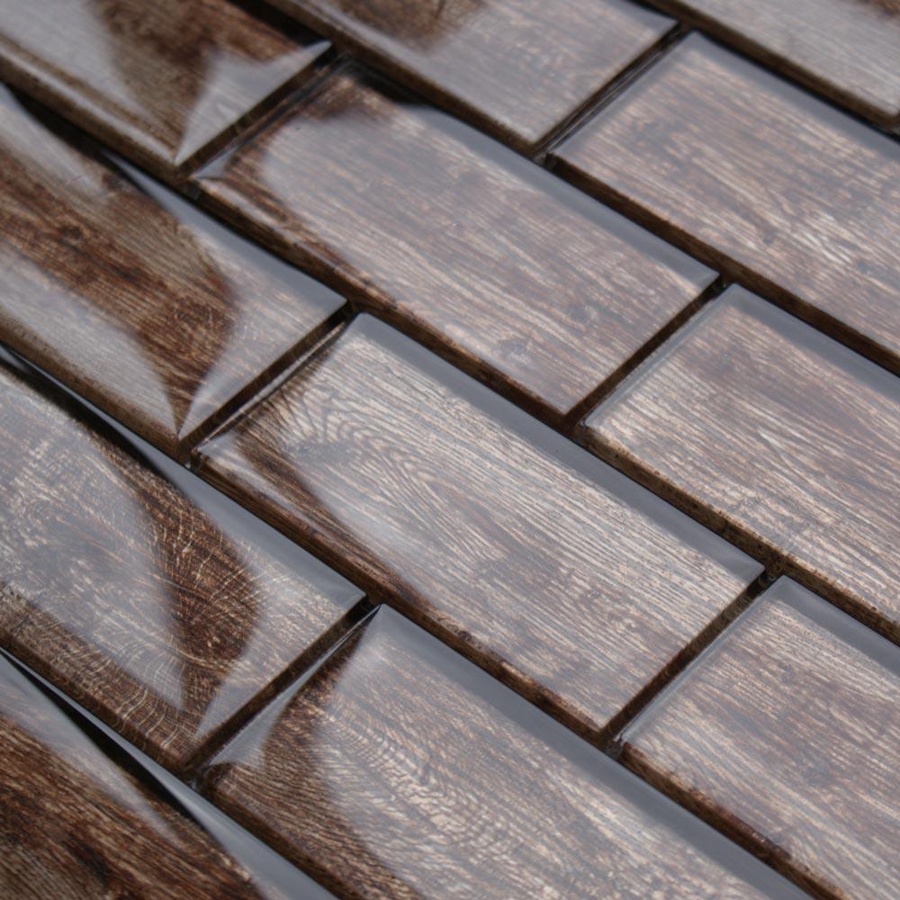 Rustica Light Brown wood effect glass tiles